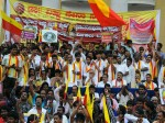 In Pics Vishnu Fans Protest Against Dr Vishnuvardhan Memorial Shift