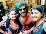 Holi Celebration In Real Star Upendra Home