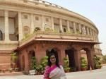 Mp Sumalatha Took A Photo Front Of Parliament