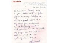 Rajinikanth Condolence Letter To Bal Thackeray Demise