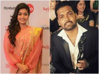 Rakshit Shetty Received Filmfare Award From His Fiancee Rashmika