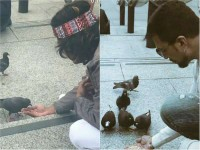 In Pics Shivarajkumar And Sudeep Feeding Food To Pigeons