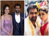 In Pics Chiranjeevi Sarja Meghana Raj Engagement In Leela Palace