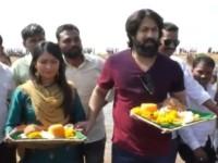 Actor Yash And Radhika Pandit Offered Bagina To Koppala Tallur Lake