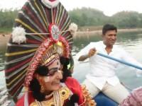 Puneeth Rajkumar Riding Boat In Nata Sarvabhouma Set