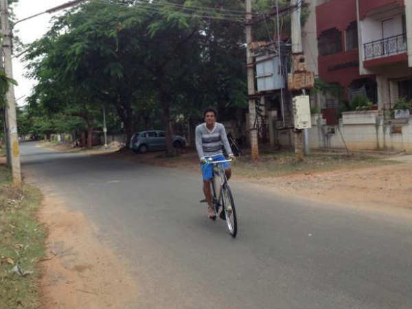 Shivarajkumar bicycle riding