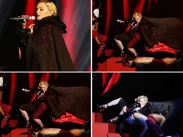 Pop Queen Madonna falls off-stage while performing