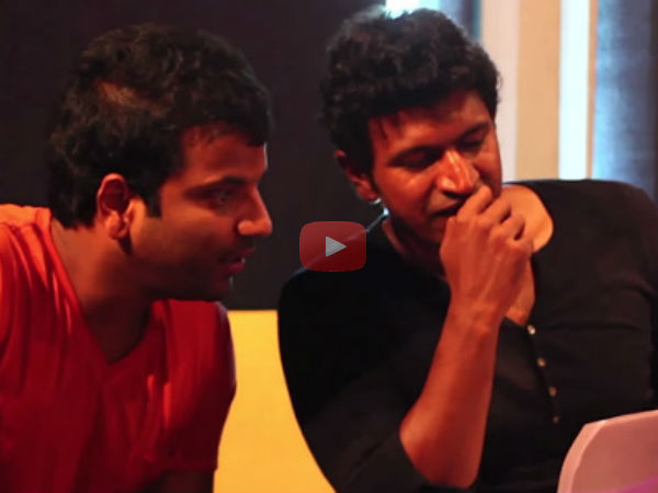 Watch making video ; Puneeth Rajkumar sings for Sathish Ninasam's