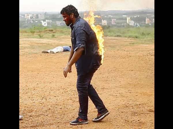 Anup Revanna's Fire stunt for 'Lakshmana'