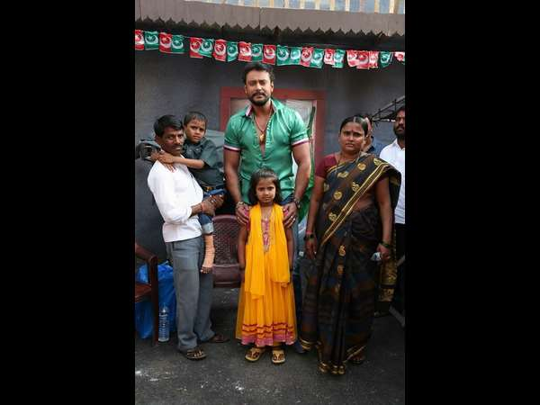 Challenging star Darshan met his die hard fan Abhishek and family