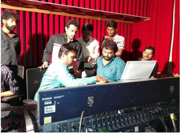 Huchcha Venkat singing for upcoming movie 'First Love'