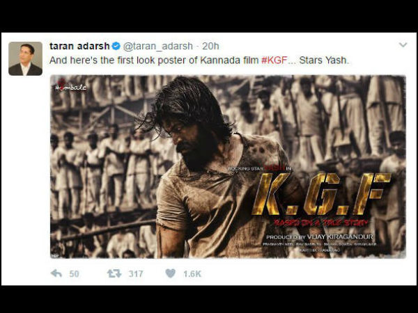 Famous Film trade analyst Taran Adarsh posted Yash 'K.G.F' first look in his twitter page