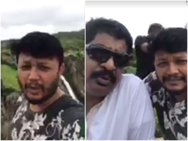 Ganesh And Yogaraj Bhat In Jog Falls.