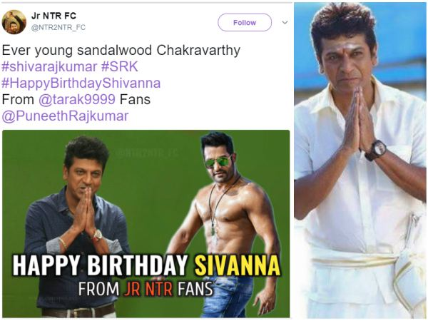 Tollywood Stars Fans Wishes Shiva Rajkumar on His 55th Birthday.