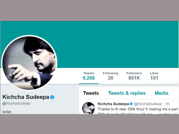 Sudeep Have 8 Lakhs Followers In His Twitter Account.