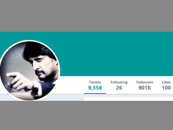 Sudeep Have 9 Lakhs Followers In His Twitter Account.