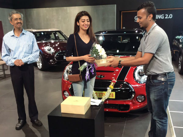 Kannada Actress Pranitha Subhash bought new Mini cooper car