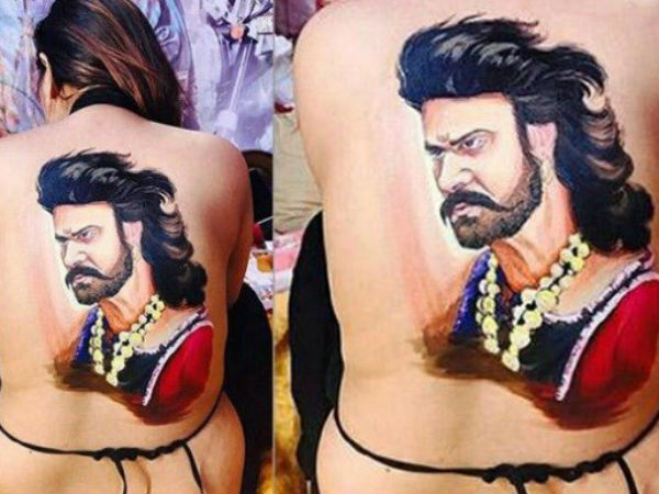 Female fans get Baahubali picture painted on their bare back