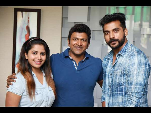 Power star Puneeth launches second song of uppu huli khara film at his residence