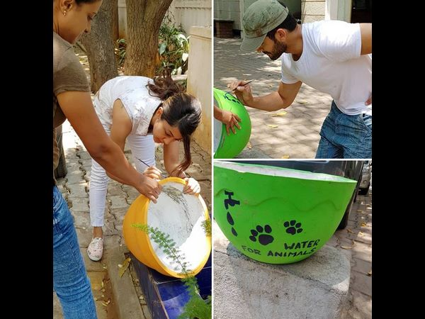 diganth and Aindrita kept water bowls for birds to save birds from Summer