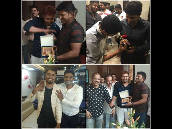 Pratham has been given gold-plated Venkateswara god photo to Puneeth Rajkumar