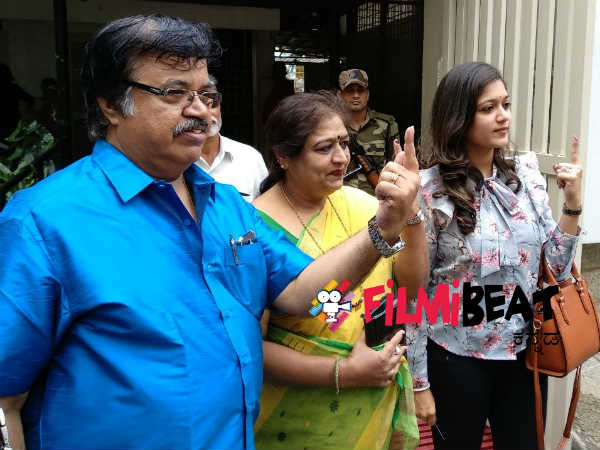 thara and meghana raj family voted in jayanagar