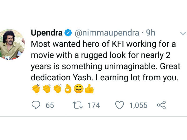 upendra tweets about yash
