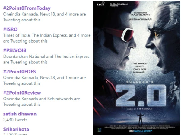 2.O movie trending number 1 in twitter