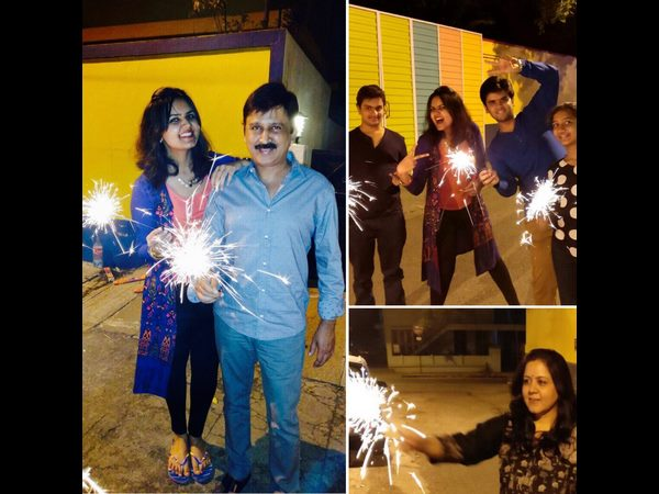 kannada actor ramesh aravind calibrated deepavali with his family