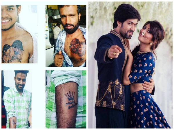 Fans get a tattoo for Radhika Pandit and Yash