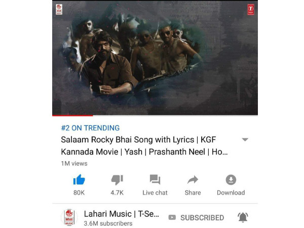 KGF movie 1st song trending number 2 on youtube