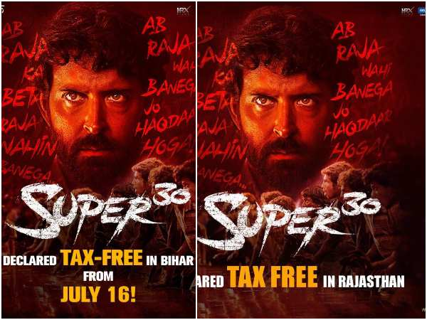 3 states made tax free for Super 30 hindi movie