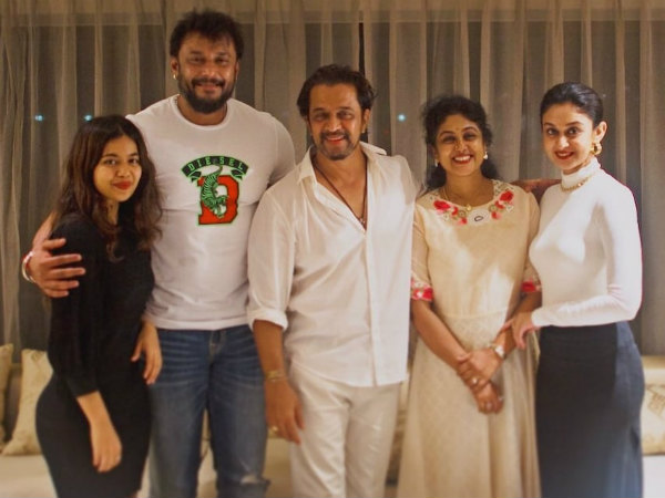 Kannada Actor Darshan Visit To Arjun Sarja House In Chennai