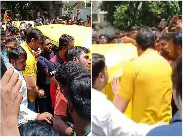 Fans Are Gathered Infront Of The House To See And Meet Darshan