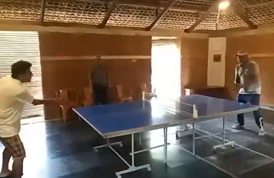 Shiva Rajkumar Played Table Tennis With Producer KP Sreekanth