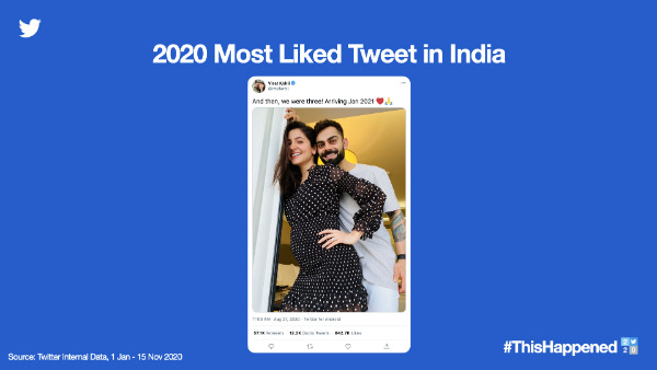 The most Liked Tweet of 2020 Is Anushka and Virats Baby Announcement
