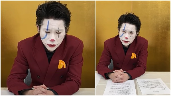 Japanese political candidate Yusuke Kawai dressed as Joker