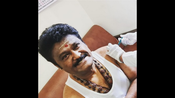 Jaggesh and his wife Parimala takes Covid-19 vaccine first dose