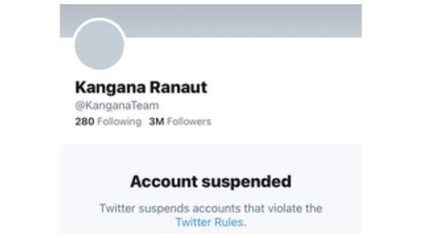 Kangana Ranaut twitter account suspended