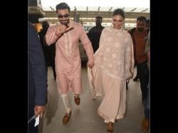 Ranveer Singh Deepika Padukone Spotted Walking Hand In Hand At Bangalore Airport